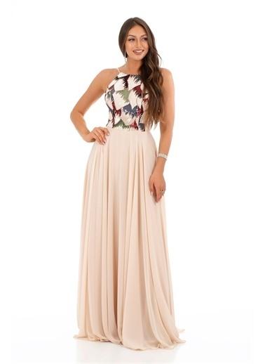 Carmen Askılı Pul Payetli Uzun Abiye Elbise Bej